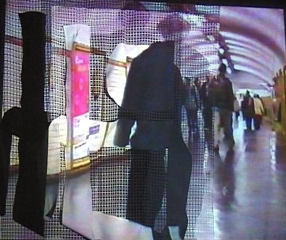 Projections sur écrans textiles Gens Métro vue 2