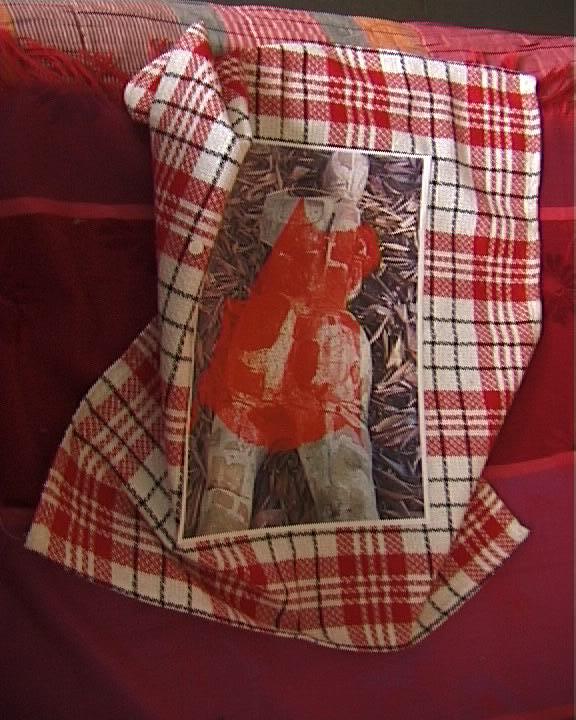 Femme de briques robe rouge sur serviette à carreaux 021